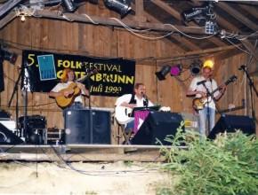 1999 Folkfestival Gutenbrunn - Österreich; Feelsaitig, v.l.: Robert Wachsmann, Alexander Wolfrum, Hanzie Scharrer