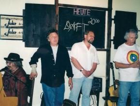 Daft-Tour 2003, v.l.: Manfred Maurenbrecher, Eric Hansen, Alexander Wolfrum, Larry Hill